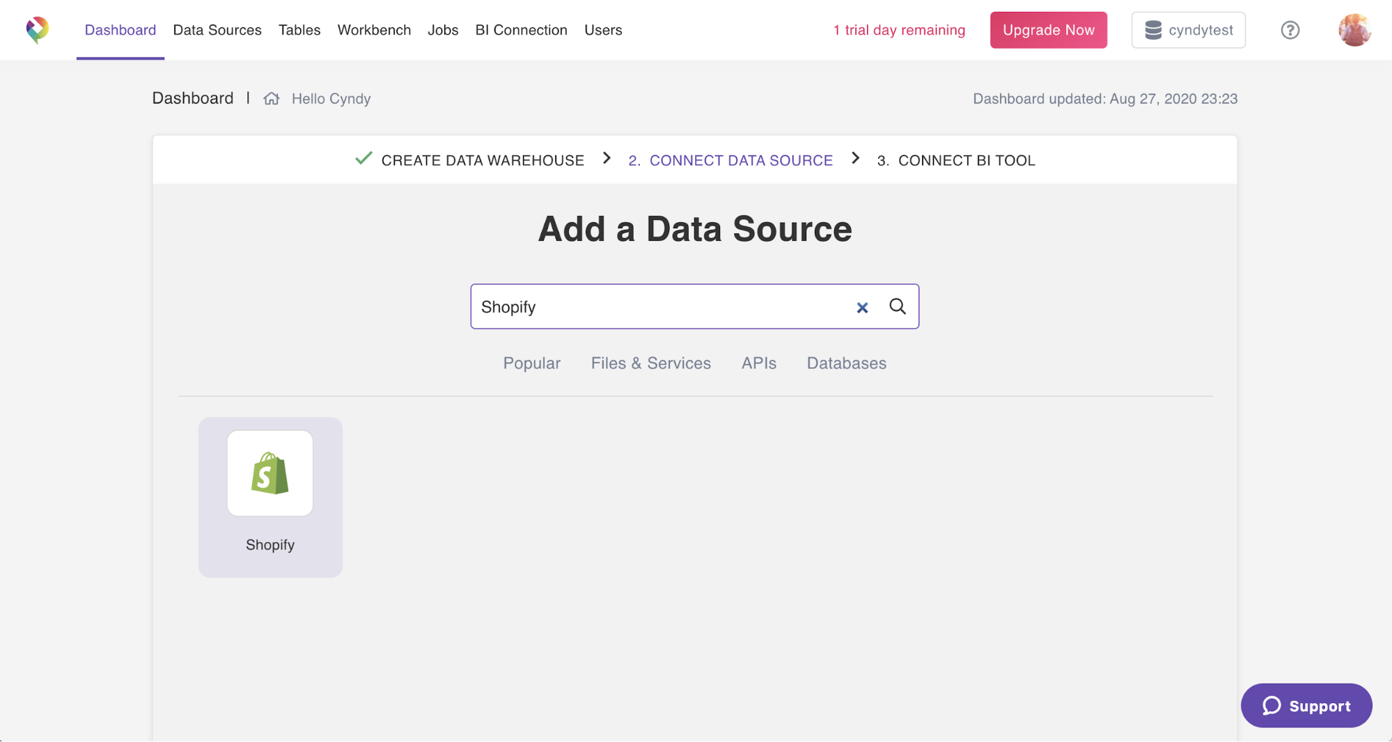 A screenshot of an easy-to-use UI for connecting Shopify data to a data warehouse.
