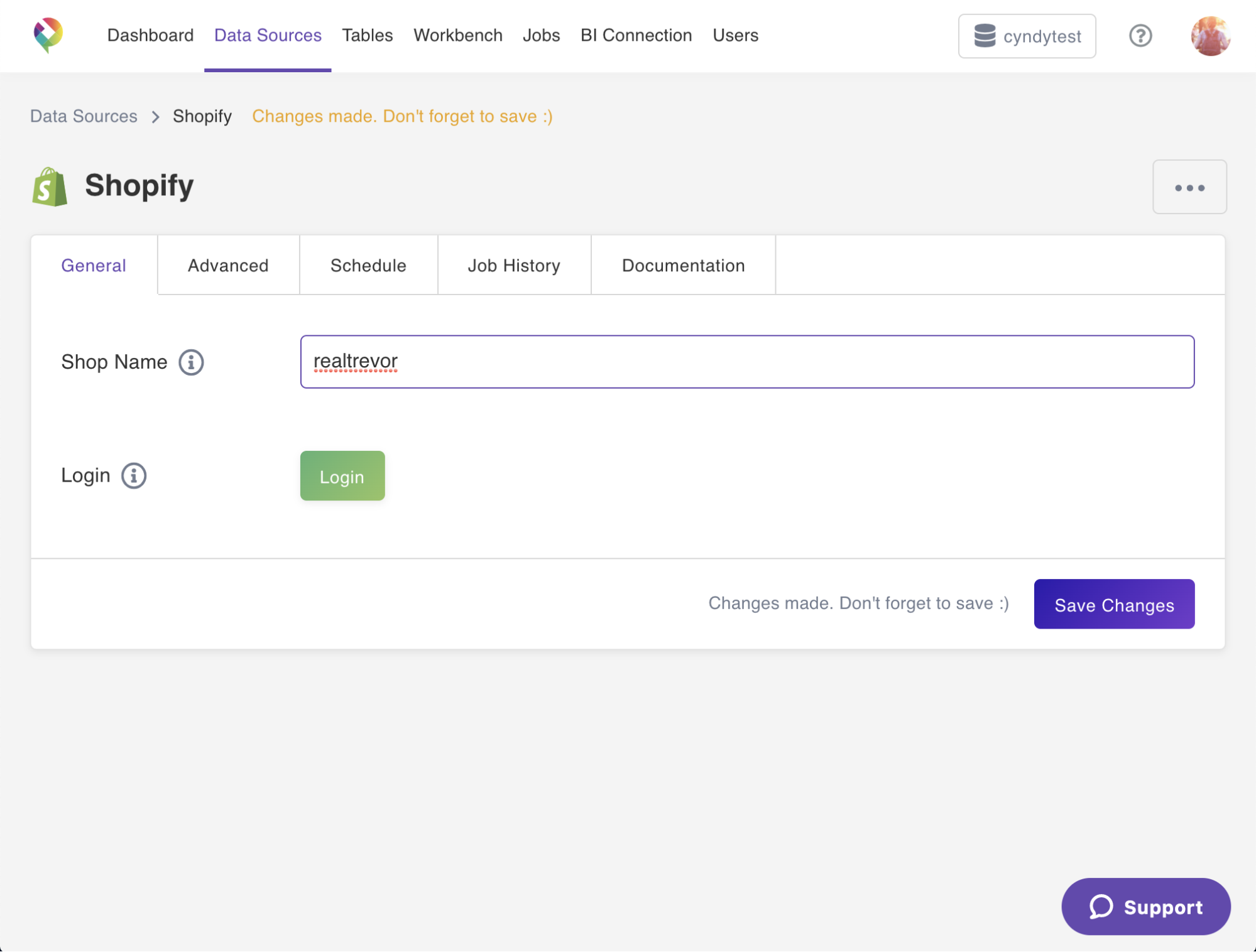 A screenshot showing how easy it is to connect Shopify to a data warehouse with Panoply's built-in ETL.