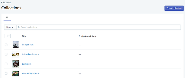 A screenshot of the Shopify Collections API.