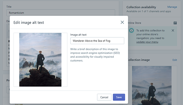 A screenshot of image alt text for a Shopify Collection.