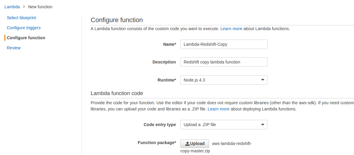 aws lambda configure action